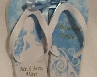 Blue Bride Wedding Flip Flops