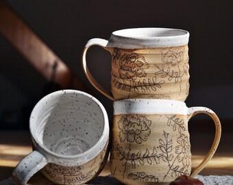 Tasse grès Fleurs | Poterie fleurs | Tasse à café | Tasse fleurs | Tasse à Café motifs | Tasse céramique