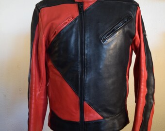 Vintage Leather Motorcycle Jacket // Men's Size 40 // Graphic Red & Black Retro Style // High Quality w/Removable Lining // Asymmetrical Zip