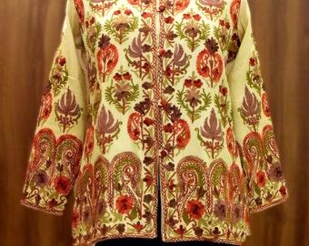 Jacket, Short Length Jacket, Embroidered Jacket, Kashmiri Jacket, Cream Jacket, Embroidery, Women Jackets, Embroidered, Jackets