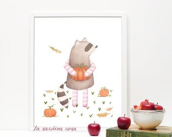 Woodland nursery art, Raccoon print, Forest nursery art, Forest friends, Kids wall art, watercolor pumpkin print