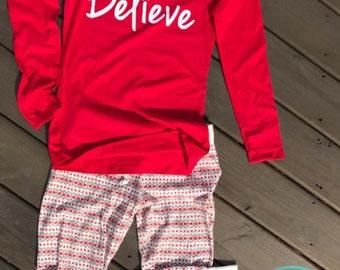 Believe Long Sleeve T-Shirt, Ladies Christmas Shirt