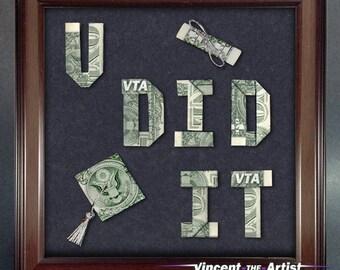 Graduation Money Gift YOU DID IT Dollar Origami Bill Cash Bank Note Handmade Sign Dinero