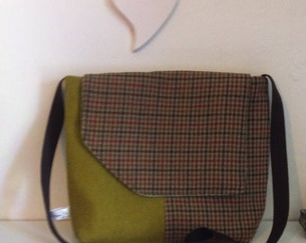 Green Harris tweed and houndstooth tweed bag.  Green tartan, satchel, gift for her, birthday gift, gift for her, present, gift, anniversary