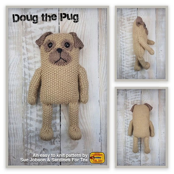 Knitted toy knitting pattern for Doug the Pug dog PDF ...