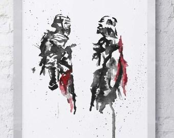 Kylo Ren, Darth Vader Watercolor Print