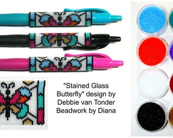 Stained Glass Butterfly by Debbie van Tonder beaded pen kit (pattern sold separately)