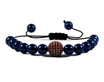 Swarovski Night Blue Pearls Rose Gold Ball Macrame Bracelet, Skull Bracelets, Pearl Beaded Bracelets, Gift For Him, Boyfriend Bracelets,