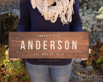 Personalized Last Name Wood Sign, Family Established Sign, Wedding Gift, Custom Wood Sign, Personalized Wedding Gift, Hanging Plaque (GP011)