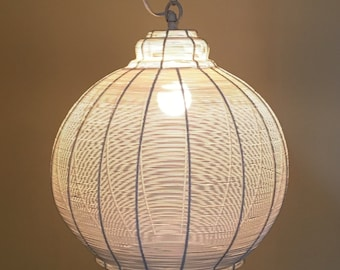 Vintage Mid Century Modern White Wire Orb Globe Corded Hanging Swag Light Atomic Era Retro
