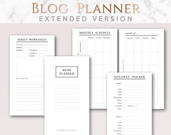 Printable Blog Planner EXTENDED version, Minimalist | Personal size | Post Worksheet, Goals, Stats, Blogging schedule, Weekly Planner