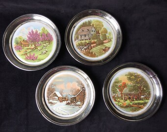 Vintage, Currier and Ives Four Seasons Coasters