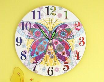 "Butterfly Wall Clock - Mosaic Butterfly 11"""