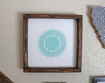 Teal and Pink Handpainted Mandala Sign -Beachy Boho Sign -Beachy Boho Decor- Mandala Sign