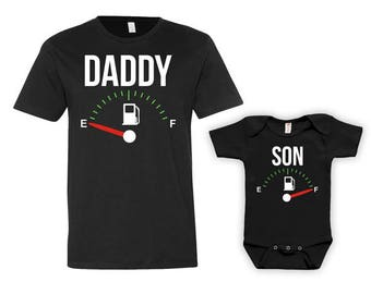 Daddy And Son Matching Shirts Father And Son Gift Daddy And Me Clothing Daddy Son Shirts Family Outfits Fuel Empty Full Bodysuit - JM121-123