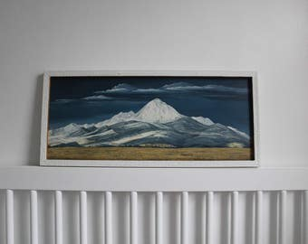 Vintage 70s Landscape Painting of Mountains and Sky / Vintage Home Decor / Nature Painting