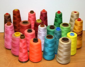 Lot of 22 Spools of Thread//Large Spools//Polyester and Cotton//Sewing and Crafting//Vintage Lot of Thread