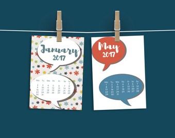 Kids  Advent Calendar, Desk calendar, Printable 2017, Downloadable, Monthly planner, Gift for kids, Patterned calendar,Colorful ,Kids desk