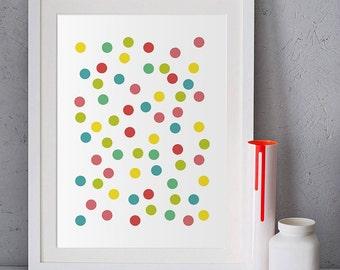 Colorful wall art prints, kids room art printable, polka dot printables, Confetti art, printable wall art, geometric art download, minimal