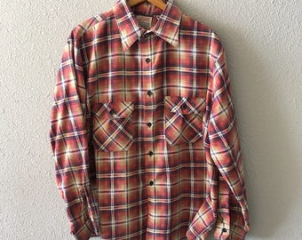 Vintage Plaid Flannel Red and Blue 1980's Flannel Shirt by Finesilver