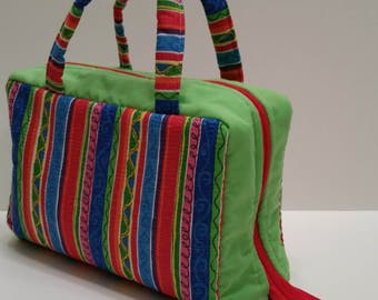 Bright Multi-Colored Striped Lunch Tote Opening Into a Tray.