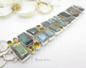 Faceted Blue Fire Labradorite and Citrine Sterling Silver Bracelet