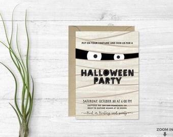 Halloween invitation - Mummy halloween - Trick or treating invitation - Halloween printable - Printable invitation - Kids halloween