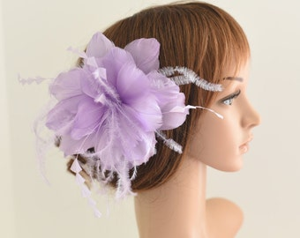 Wedding Fascinator, Bridal Hair Comb,Wedding Hair Comb,Feather Flower Comb Fascinator 30A (Lilac)