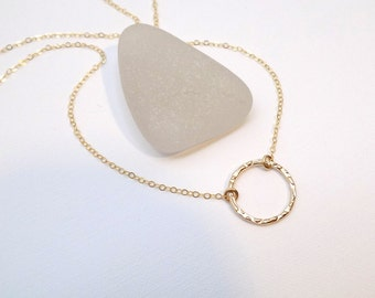 """Small Gold Circle Necklace. Free Shipping. Gold Filled. Eternity Circle. Hammered. Modern Dainty Delicate Pendant. Gift For Her. 5/8"""" Circle"""