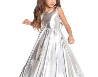 Girls Dress , Party Dress For Girls, Size 4, 5, 6 Special Occasion Dress, Silver Girl Dress,  Birthday dress, Princess dress