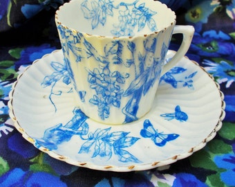 Vintage China Demi Tasse Cup & Saucer - Blue and white - unmarked - used