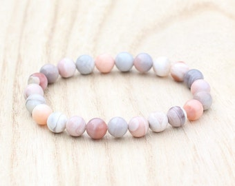Pink Botswana Agate Stretch Bracelet. Crown Chakra. Take Your Power Back. Quit Smoking. Release Emotions. Botswana Agate Bracelet.