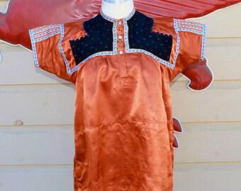 Vintage Orange Silk Blouse