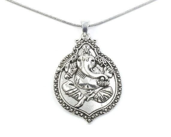 Large Ganesh Necklace, Ganesha Pendant, Elephant, Yoga, Festival Jewelry, Boho, Bohemian, Gypsy, Hippie, Spiritual