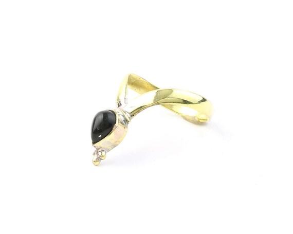 Brass V Ring, Black Onyx Brass Ring, Gemstone, Ethnic, Tribal, Yoga, Gypsy, Hippie Jewelry, Festival Jewelry, Bohemian, Boho