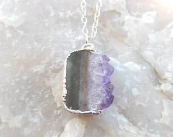 Amethyst Druzy Slice Rhodium Necklace Drusy Crystal Quartz Agate Pendant Jewelry Sterling Silver- Free Shipping