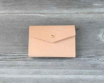 Leather Short Wallet // Nude