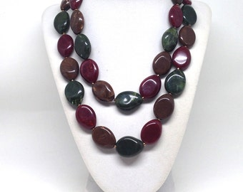 Gorgeous Big Bold Chunky Marble  Beaded Oval Brown Green Estate Necklace