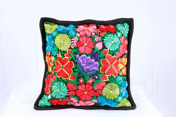 4 Black Mexican Embroidered Pillow Cover