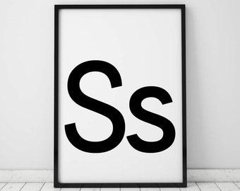 Ss Letter Print, Initial Wall Art, Scandinavian Art, Scandinavian Poster, Initial Poster Ss Letter Poster, Ss Letter Print, INSTANT DOWNLOAD