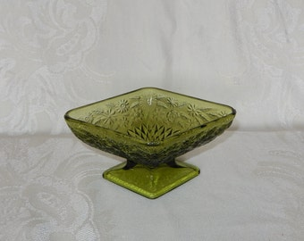 Indiana Glass Pineapple and Floral Avocado Glass Compote Diamond Shaped Pedestal Dish Footed Green Bowl