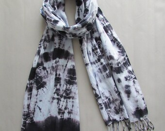 Tie dye Fringe scarf Fashion scarf Boho fashion scarf Gift for her Mens scarf Festival clothing Beach cover up Cotton scarf INDI 0193