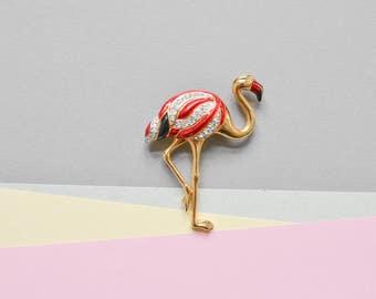 90s flamingo brooch, bird brooch, flamingo pin, flower brooch, 90s jewelry, 90s pin