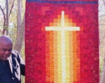 Church Banner, Cross, Crucifix, prayer quilt, faith, love, christian home decor, christian wall art, spiritual, religious banner, religious,