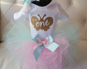 First birthday outfit girl, 1st  Birthday Tutu outfit, Pink & Mint Green First Birthday Outfit in Sizes 9-24 month