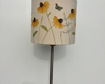 Hand painted and free motion embroidered floral lampshade - 20cm diameter