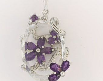 Flower Covered  Oval Crystal - Sterling Silver