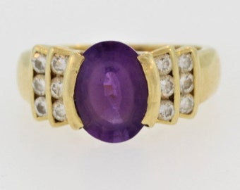 Rare Amethyst And Diamond Ring- 14k Yellow Gold