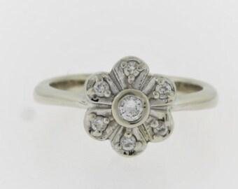 Vintage Diamond Flower Ring- 14k White Gold