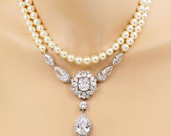 Wedding Necklace Zirconia Swarovski Pearl Necklace Wedding Jewelry Bridal Jewelry Statement Jewelry Bridal Necklace Wedding Accessory Ash